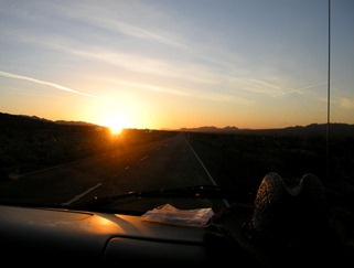 sunrise traveling east on I-10 from Indio