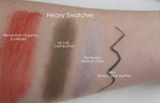 Organic make-up swatches