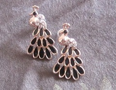 hyphen peacock earrings, bitsandtreats
