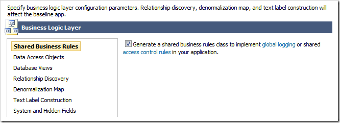 Enabling shared business rules for the project.