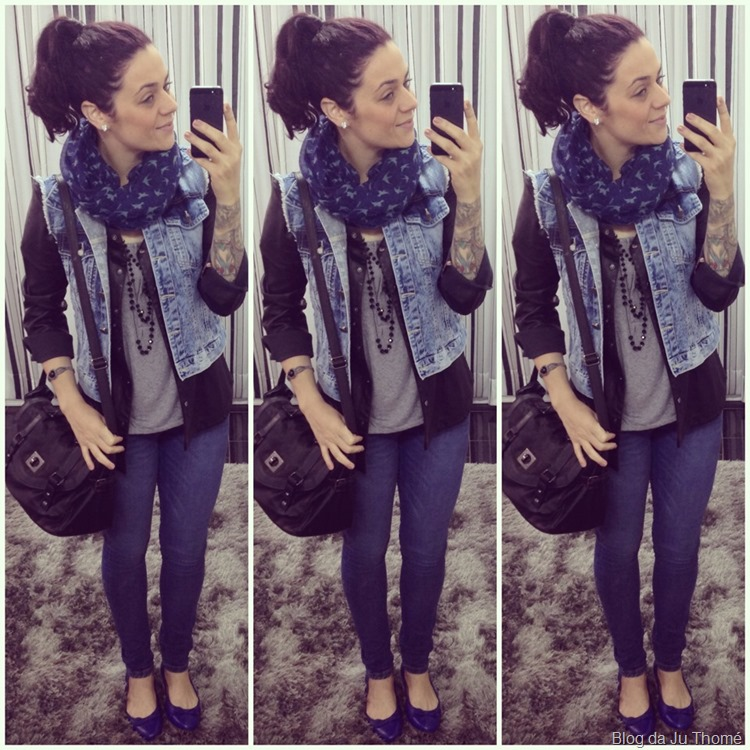 look outono camisa de couro, colete jeans e cachecol  (1)