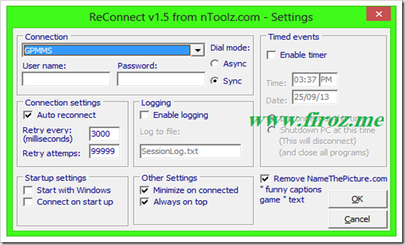 Reconnect setting