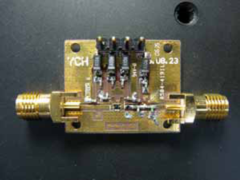 Photograph of the dual-mode PA MMIC on EVB