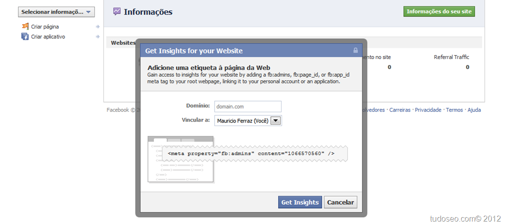 Saiba configurar facebook-insigth para blogger/sites