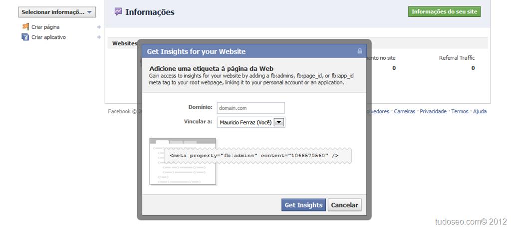 Saiba configurar facebook-insigth para blogger/sites