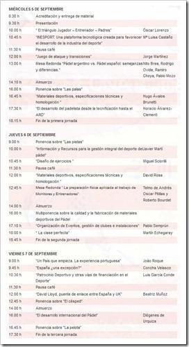 Programa Completo Simposio Internacional Pádel FEP MADRID SEPTIEMBRE 2012