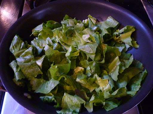 Sliced escarole ready to be sauteed.