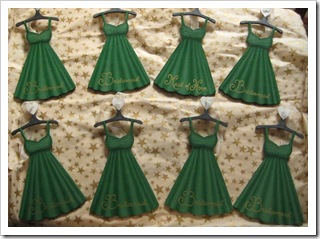 Green Bridal Party Dress Ornaments - finished