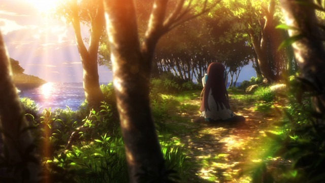 Manaka collapses to her knees on a forest path as the sun begins to set