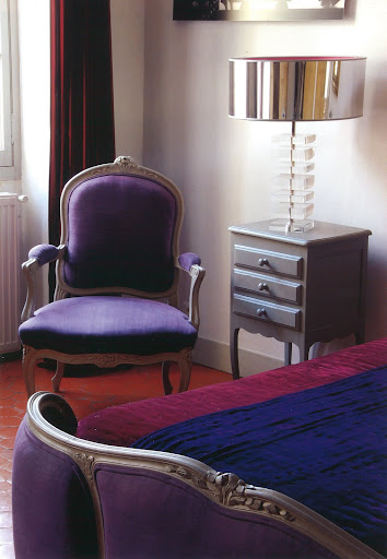 A private look into the Violet suite at La Maison du Village, Saint Remy de Provence.