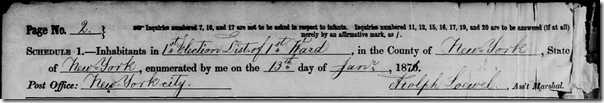 1870 Census, 2nd enumeration of New York City 1st Ward, 1st District, page 1