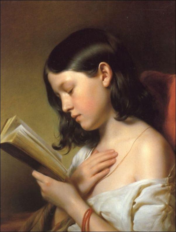Franz Eybl, jeune fille lisant