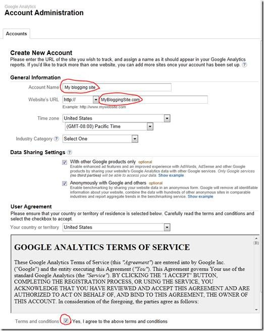 Google Analytics new account steps