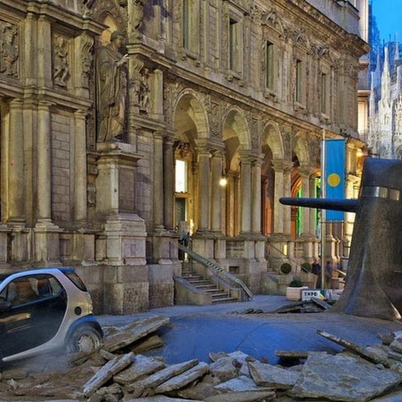 Submarine Emerges From Beneath a Street in Milan