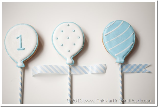 white balloon cookie washi tape flag