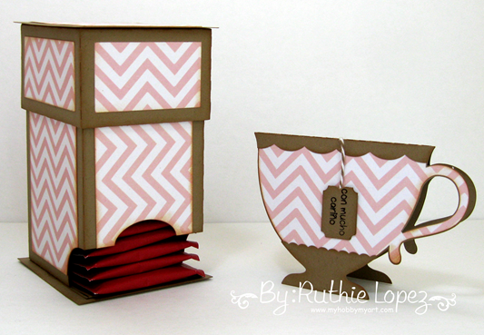 Mosipis - Chevron I - Tea bag dispenser - Tea cup card - Ruthie Lopez - My Hobby My Art