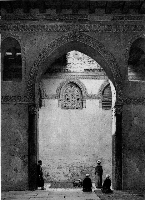 Mosque of Ahmad ibn Tulun, arcade and interior windows, 9th century. Prostrating men provide scale and accentuat the arcade's massiveness. Arches vary Irttle; they rest on brick pillars with a rectangular plan. Unobstructed interior windows and laced exterior windows form interesting contrasts, capturing the movement of air and light.