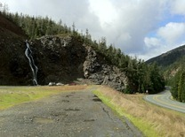 water coming off the steep mountains all along highway 199 and the Smith River