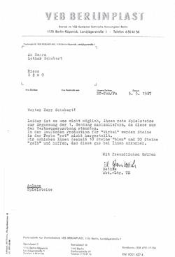 VEB Berlinplast Brief an Lothar Schubert