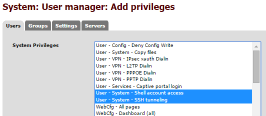 "Machine generated alternative text: Add privileges System: User manager: S privileg r - Deny Write SBÆtem - Capy files r - - IP""c.uth Dialin - - L2TP r VPN - PPPOE r VPN-PPTpc.'in portal 'gr. - C..pt -System -SSH tunneling WebCfg - All p.geE - (Ell"