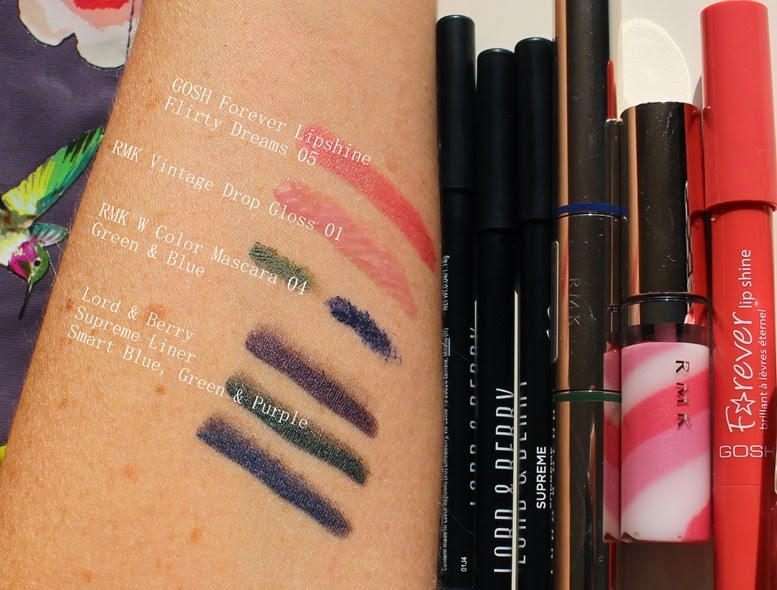 Bright-colored-eyeliner-mascara-swatches