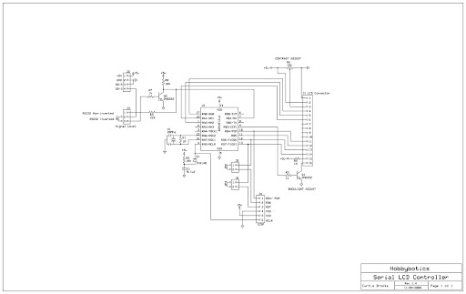 Serial LCD Backpack Controller v1.4 Schematic.