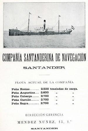 La flota de la Santanderina de Navegación en 1900. El buque que aparece en el anuncio es el PEÑA SAGRA. Del libro LA MARINA CANTABRA. DESDE EL VAPOR. VOL. II.jpg