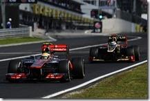 Hamilton precede Raikkonen nel gran premio d'Ungheria 2012
