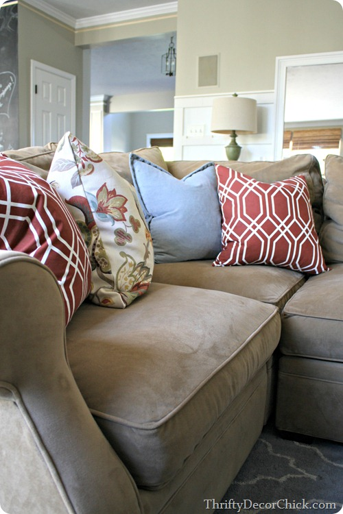 mixing fabrics pillows