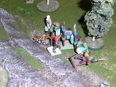 Orc spearmen give the Adventurer heroes pause