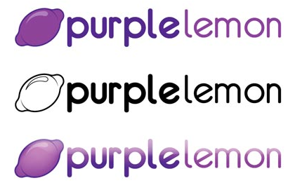 purple lemon logo design