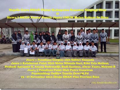 SMAN Pintar Raih Juara Umum, Bulan Bahasa Se Riau