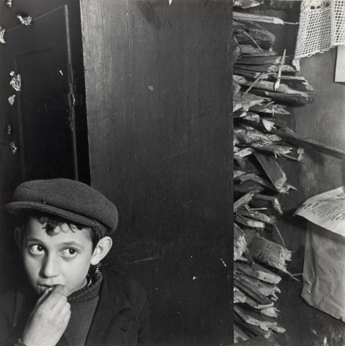 01 1vishniac boy with kindling in basement dwelling