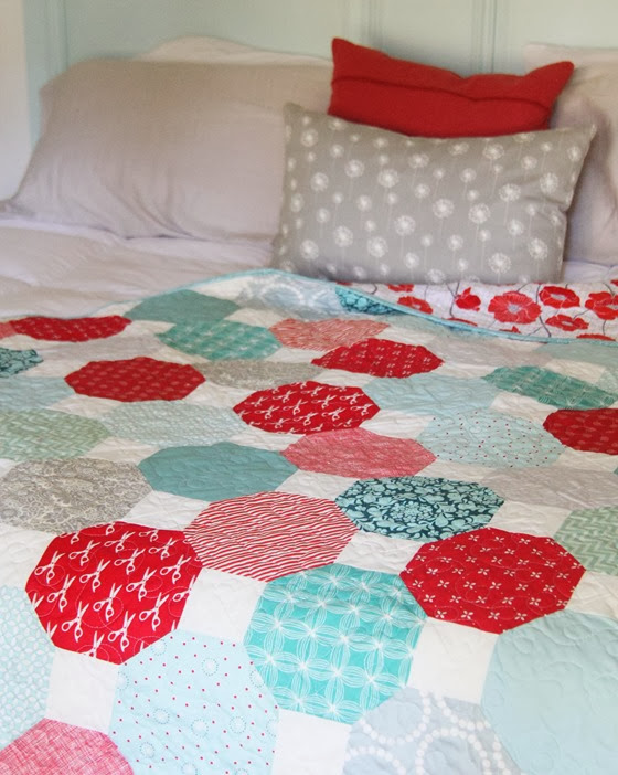 Aqua, Teal, and Red Snowball Quilt, Cluck Cluck Sew