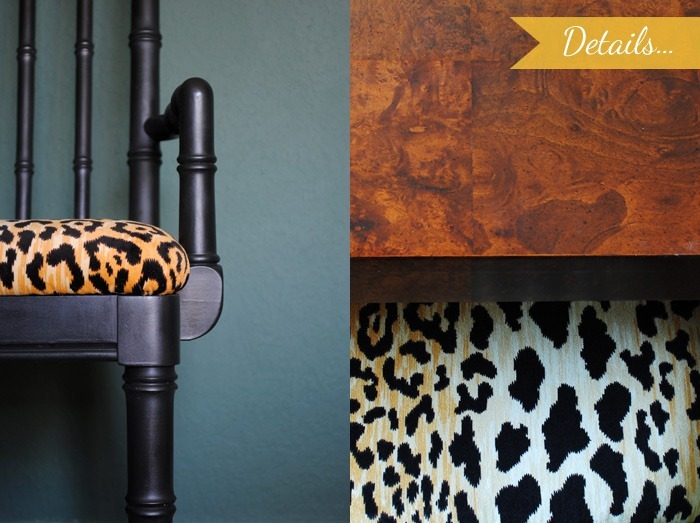 dining room updates black and leopard velvet chairs18