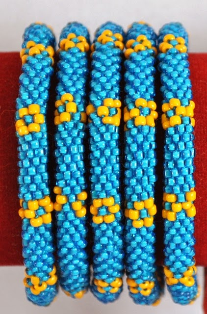Blue Rolling Over Glass Bead Bracelets