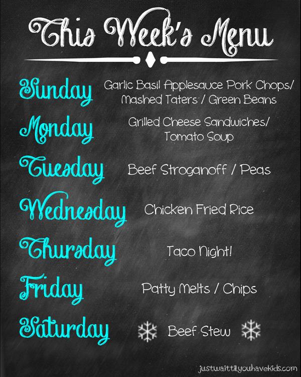 November 9-15 Meal Plan