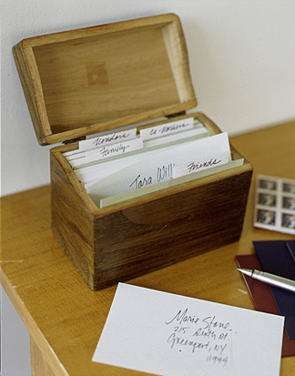 A recipe file can be repurposed as a card file for addresses.