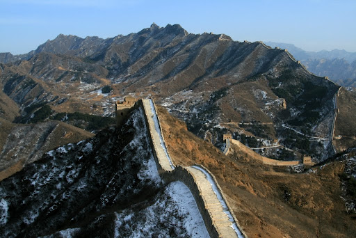 Look closely and you can see how the Great Wall lines the mountain ridge as far as the eye can see!