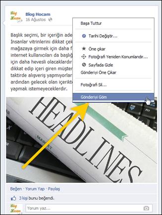 Facebook embed özelliği