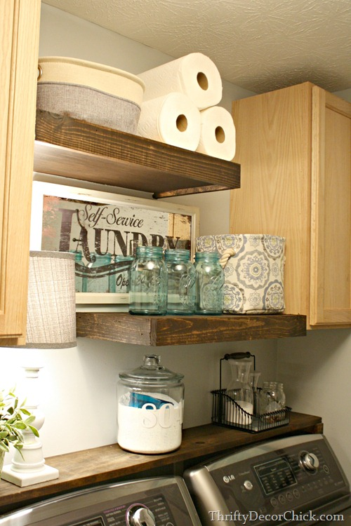 Thick Floating Shelves and Cabinets