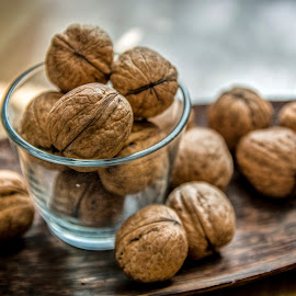 Walnut Art by Julian Popov - Food & Drink Eating ( raw, shell, nobody, nutshell, wood, rustic, open, nature, fresh, ingredient, vegetarian, cracked, closeup, fruit, vintage, walnut, health, kernel, snack, handful, broken, organic, tasty, wooden, season, food, background, healthy, nut, eating, brown, group, natural )