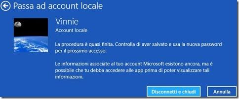 Windows 8 Confermare passaggio a account locale