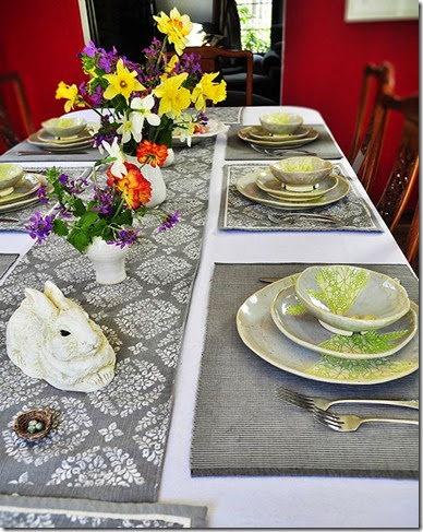 Modern Lace dinnerware Easter table