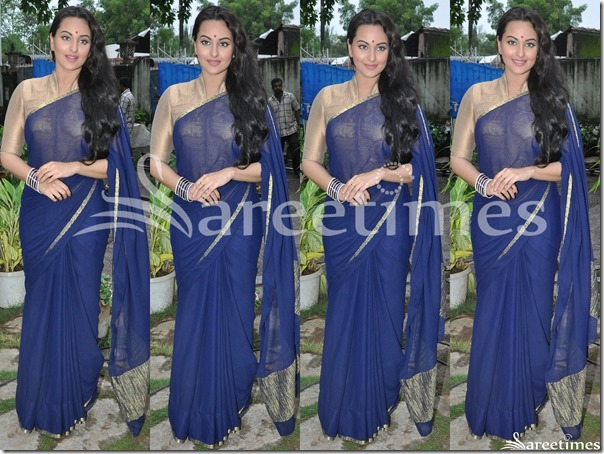 Sonakshi_Sinha_Blue_Plain_Saree