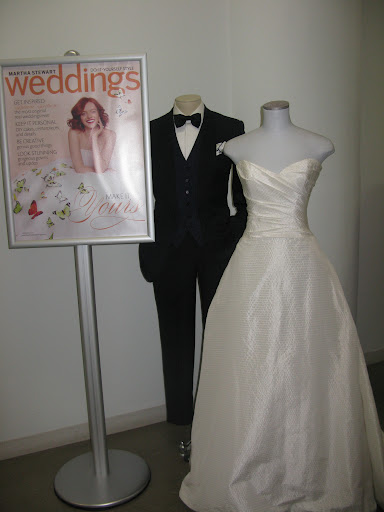 Of course we had to welcome our guests with the bridal party -- tux and dress from Kleinfeld.