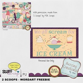 MDK Scraps - 2 Scoops - Wordart Preview