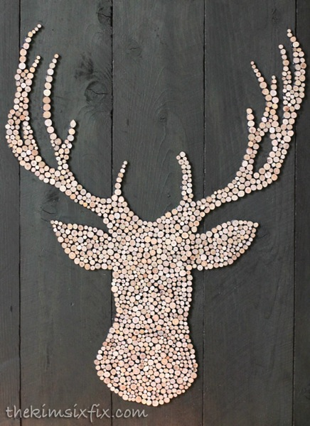 Wooden circle deer head