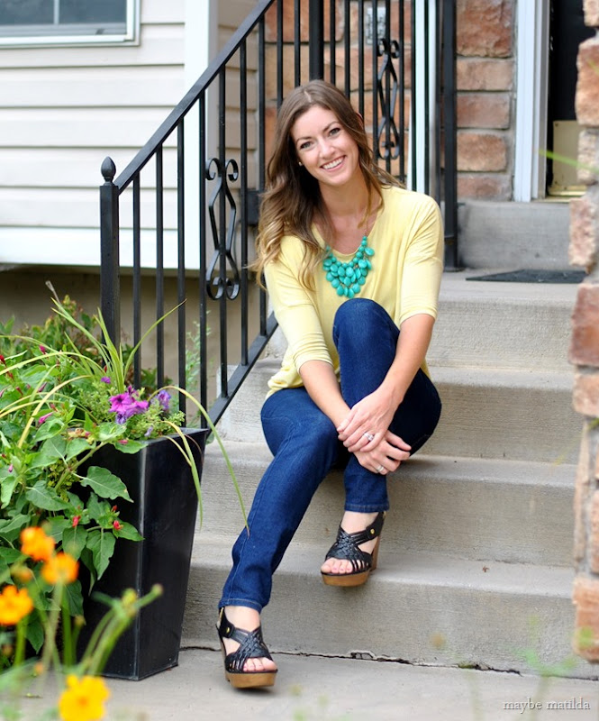 yellow top + green statement necklace // www.maybematilda.com