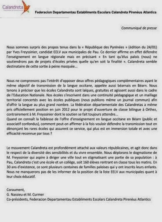 ecologistas contra Calandreta